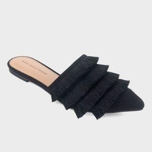 Who What Wear Annie Black Fringe Slip On Mule NWT